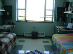 A bedroom with two beds, two desks, and one window.